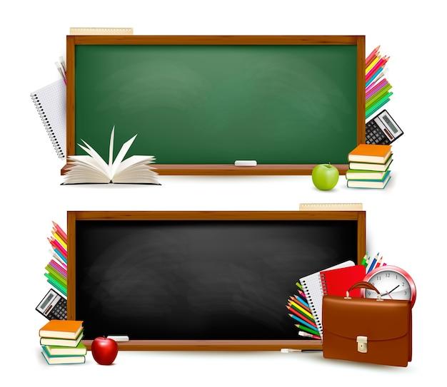 Retour à l'école.deux bannières avec des fournitures scolaires.