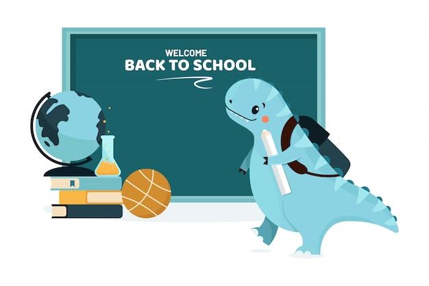 Retour à l'école dinosaure animal et tableau noir. illustration.
