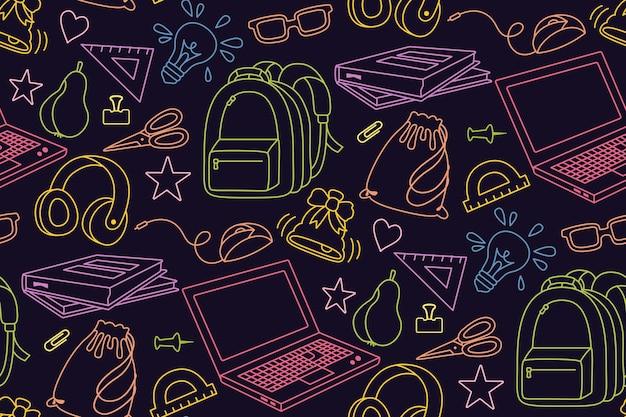 Retour à l'école doodle croquis coloré modèle sans couture apprentissage du textile de la ligne de l'école premier jour du matériel scolaire icône du concept de l'éducation ciseaux lunettes pour ordinateur portable livre sac à dos peintures