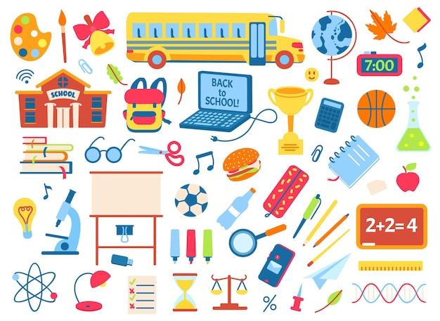 Retour à l'école doodle éléments mignons enfants autocollants sac à dos livres crayons cahier vecteur ensemble
