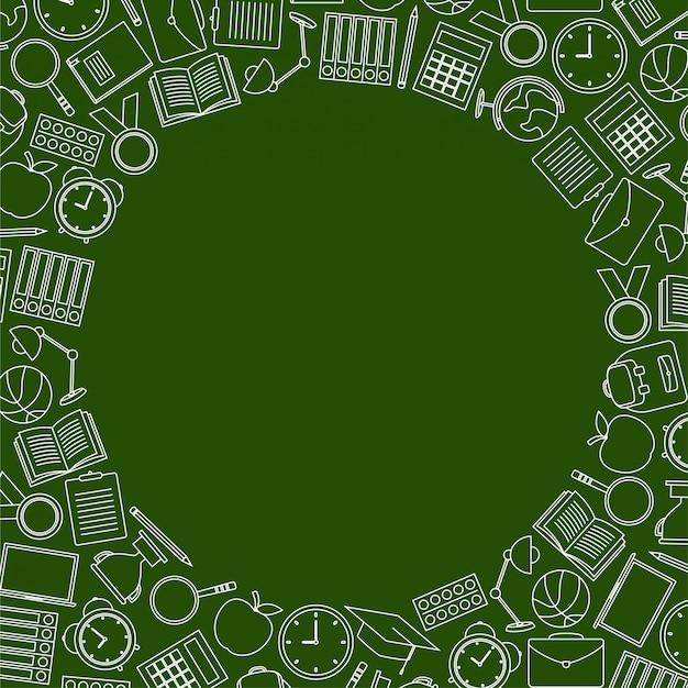 Retour à l'école doodles sur fond vert
