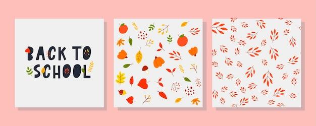 Retour à l'école doodles sommaires avec automne illustration vectorielle dessinés à la main