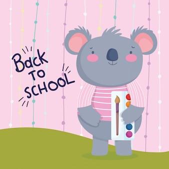 Retour à l'école éducation koala mignon avec palette de couleurs