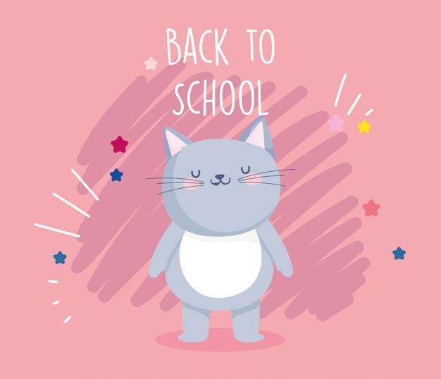 Retour à l'école éducation mignon chat gris dessin animé affiche vector illustration