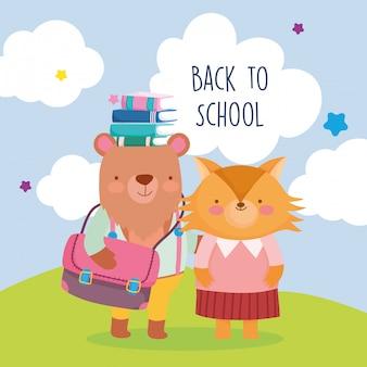 Retour à l'école éducation ours avec sac livres en tête et renard