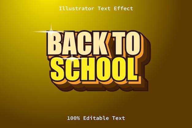 Retour à l'école avec un effet de texte modifiable de style de jeu moderne