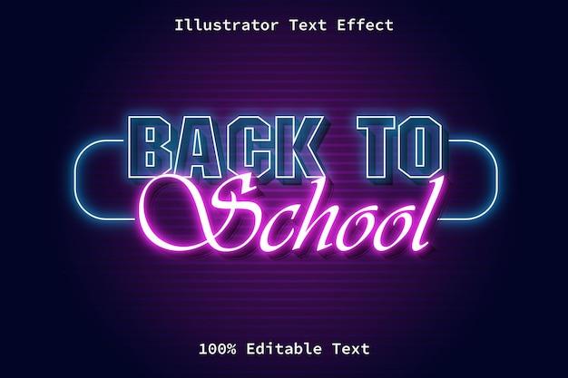 Retour à l'école avec effet de texte modifiable de style rétro néon