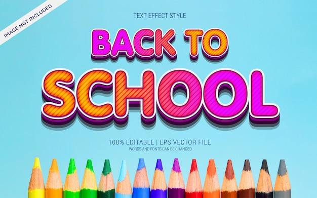 Retour à l'école effets de texte coloré