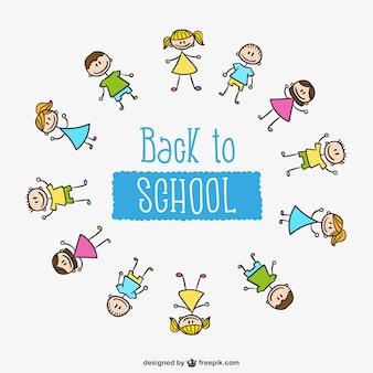Retour à l'école les enfants cercle