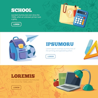 Retour à l'école ensemble de bannières web