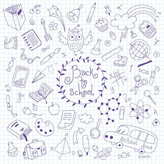 Retour à l'école. ensemble d'éléments dessinés à la main pour la conception.