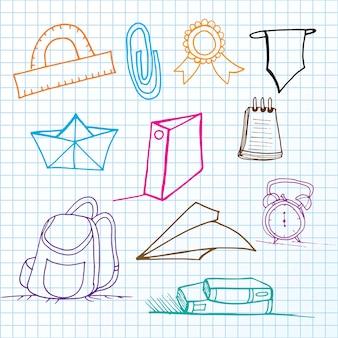 Retour à l'école ensemble de lignes icônes vectorielles