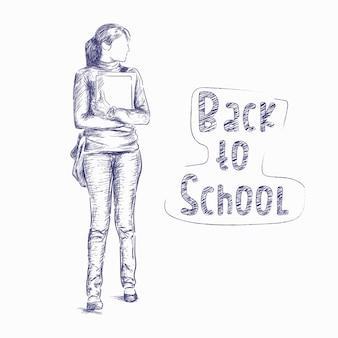 Retour à l'école esquisse les gens fille