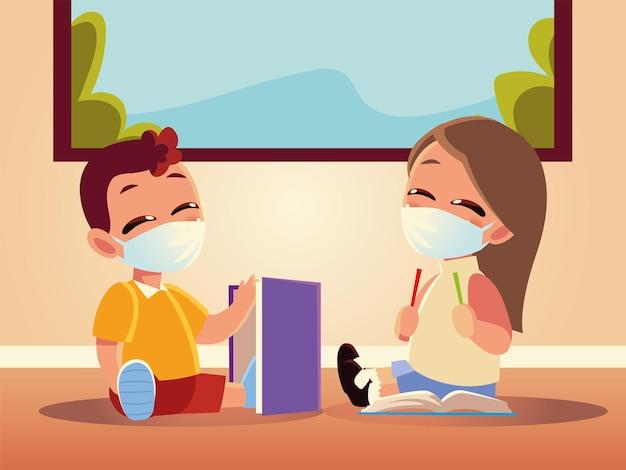 Retour à l'école de fille et garçon enfant avec conception de masques médicaux, éloignement social et thème de l'éducation