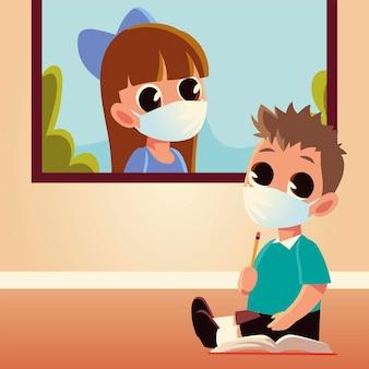 Retour à l'école de fille et garçon enfant avec masques médicaux, éloignement social et thème de l'éducation