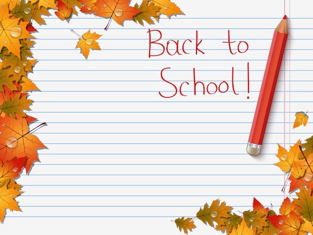 Retour à l'école, fond de vecteur automne éducation