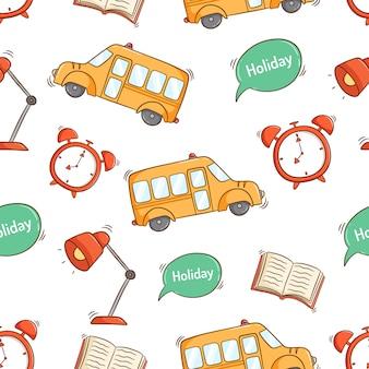 Retour à l'école fournit des icônes en motif transparent avec style doodle coloré