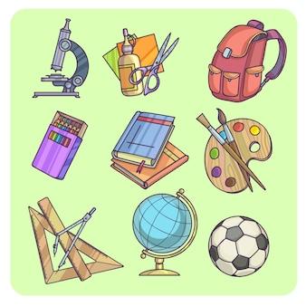 Retour à l'école fournitures et matériel d'apprentissage