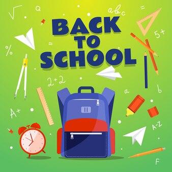 Retour à l'école. fournitures scolaires: sac à dos, horloge, boussole, stylo, crayon, marqueur, triangle, chiffres. illustration.