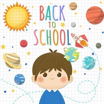Retour à l'école avec un garçon souriant