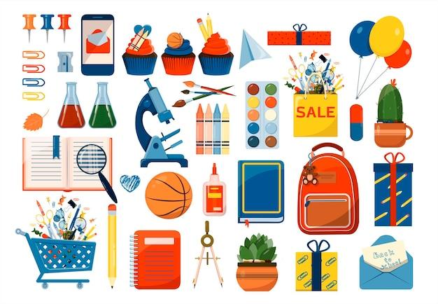 Retour à l'école grand ensemble de vecteurs fournitures scolaires de dessin animé un ensemble d'icônes colorées