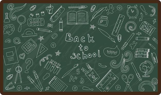 Retour à l'école grand vecteur doodle ensemble fournitures scolaires dessinées à la main icônes plates illustrations de dessins animés