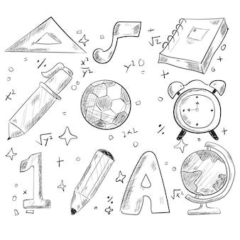 Retour à l'école handraw doodle éléments