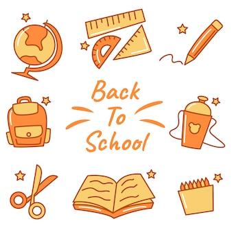 Retour à l'école icône avec doodle style vector