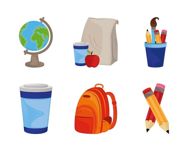 Retour à l & # 39; école, icônes serties de crayons de globe sac à dos et illustration de l & # 39; éducation du déjeuner