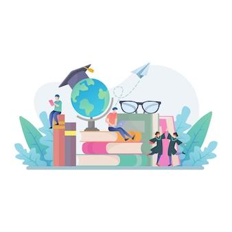 Retour à l'école avec illustration de concept de livres, d'éducation et de recherche