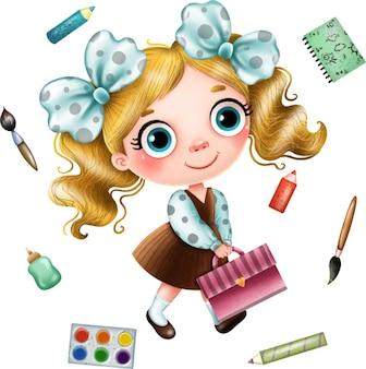 Retour à l'école illustration écolière avec un sac à dos et des fournitures scolaires