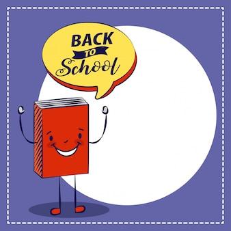 Retour à l'école une illustration de livre rouge