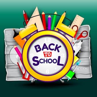 De retour à l'école avec des illustrations en bois et des inscriptions de lettres et d'éléments à l'école