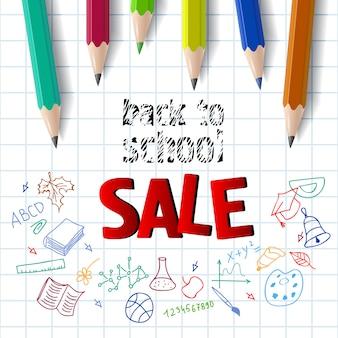 Retour à l'école, inscription de vente avec des crayons de couleur