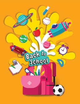 Retour à l'école, inspiration du livre, apprentissage en ligne, étude à domicile, vecteur de conception à plat.