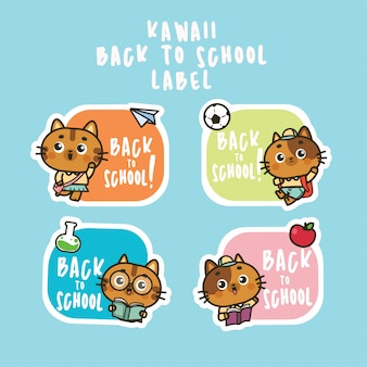 Retour à l'école jeu d'autocollants icône chat mignon illustration plate
