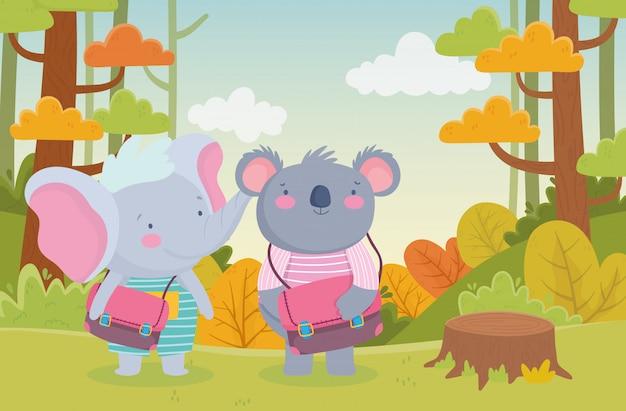 Retour à l'école koala et éléphant