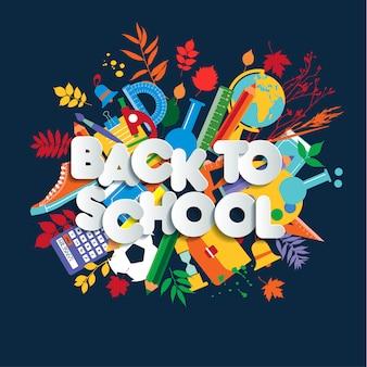 Retour à l'école de lettrage, illustration de l'enfant coloré avec des fournitures de classe.