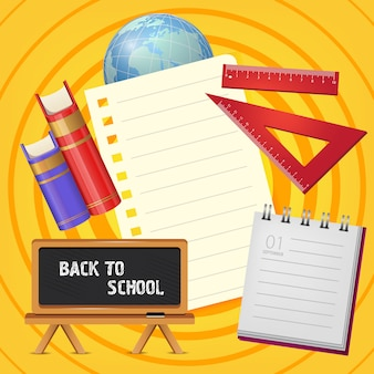 Retour à l'école lettrage sur tableau noir avec bloc-notes et livres