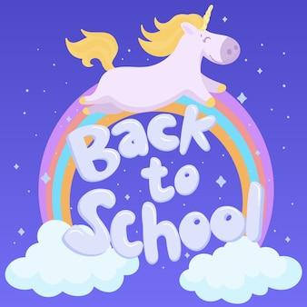 De retour à l'école avec une licorne mignonne