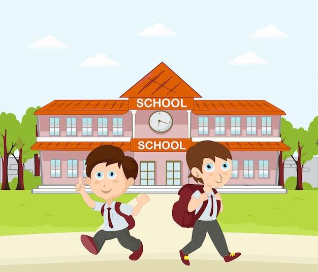 Retour à l'école à la maison après un nouveau design plat normal