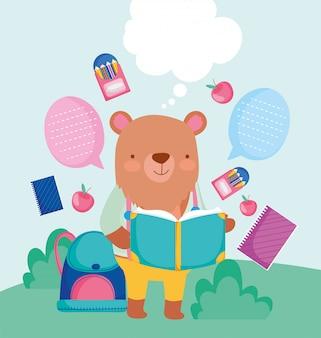 Retour à l'école mignon ours lecture livre sac à dos crayons éducation