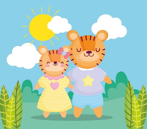 Retour à l'école, mignons enfants tigres avec des vêtements en plein air