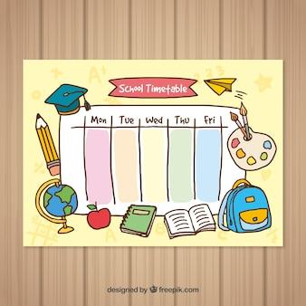 Retour à l'école modèle de calendrier dessiné à la main