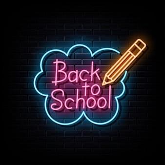 Retour à l'école néon texte symbole d'enseigne au néon