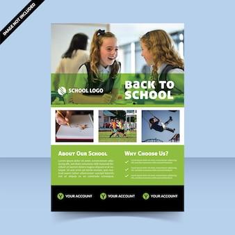 Retour à l'école nouvelle conception de modèle de flyer simple vert normal