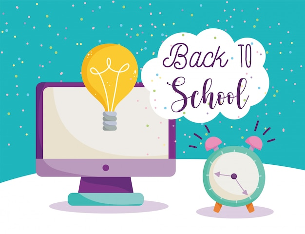 Retour à l'école, ordinateur réveil idée dessin animé éducation élémentaire