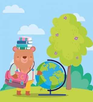 Retour à l'école, ours livres globe carte sac à dos arbre en plein air
