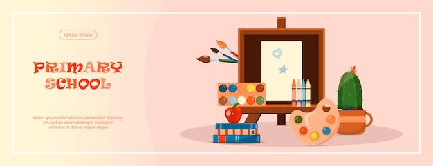 Retour à l'école papeterie pour l'école, l'université et le bureau fournitures scolaires de dessin animé