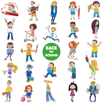 Retour à l'école avec des personnages de dessins animés pour enfants